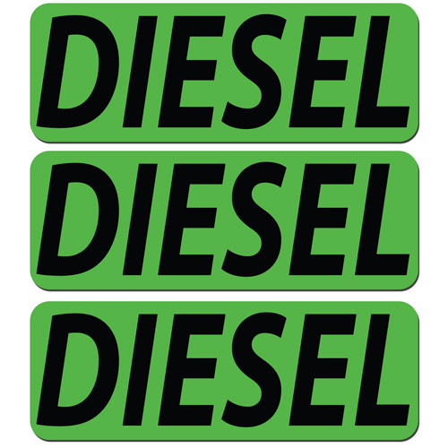 3x Diesel Fuel Only Layered Vinyl Stickers / Decals Green & Black Color