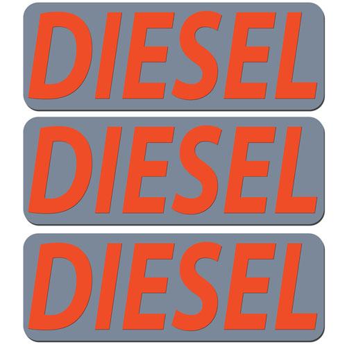 3x Diesel Fuel Only Layered Vinyl Stickers / Decals Grey & Orange Color
