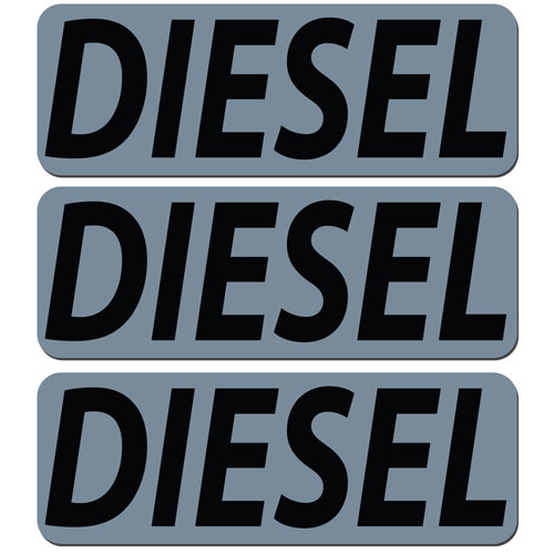 3x Diesel Fuel Only Layered Vinyl Stickers / Decals Grey & Black Color