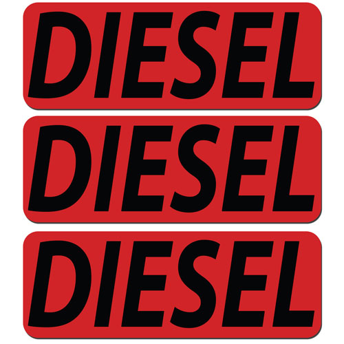 3x Diesel Fuel Only Layered Vinyl Stickers / Decals Red & Black Color