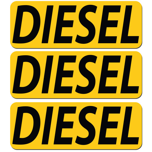 3x Diesel Fuel Only Layered Vinyl Stickers / Decals Yellow & Black Color