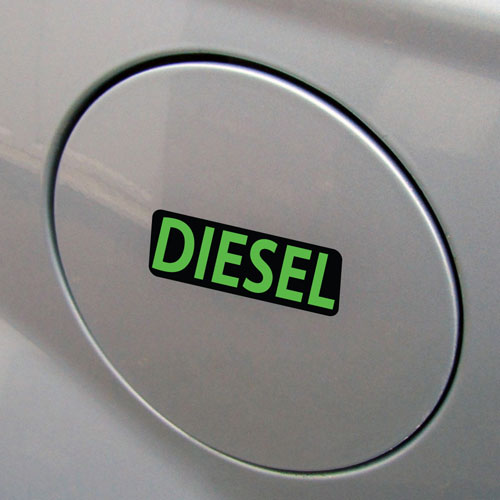 3x Diesel Fuel Only Layered Vinyl Stickers / Decals Black & Green Color