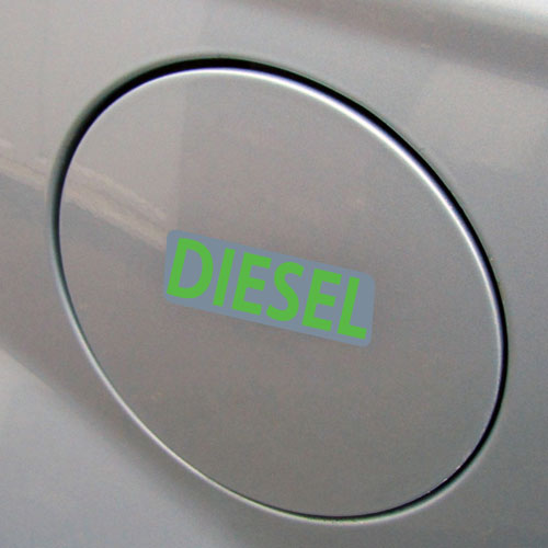 3x Diesel Fuel Only Layered Vinyl Stickers / Decals Grey & Green Color