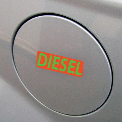 3x Diesel Fuel Only Layered Vinyl Stickers / Decals Orange & Green Color