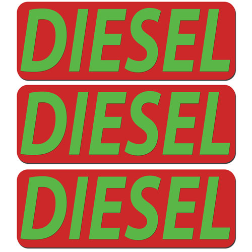 3x Diesel Fuel Only Layered Vinyl Stickers / Decals Red & Green Color