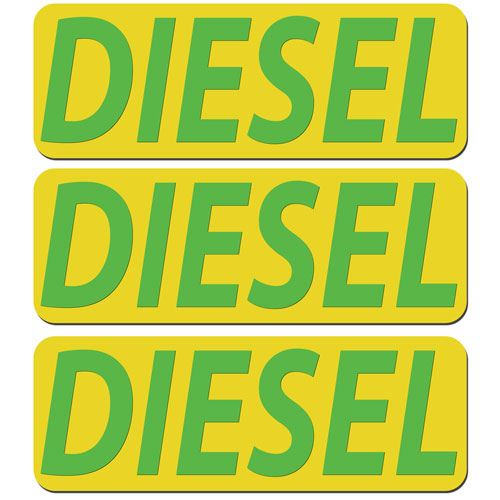 3x Diesel Fuel Only Layered Vinyl Stickers / Decals Yellow & Green Color