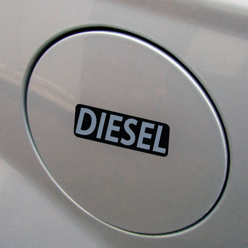 3x Diesel Fuel Only Layered Vinyl Stickers / Decals Black & Grey Color