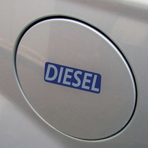 3x Diesel Fuel Only Layered Vinyl Stickers / Decals Dark Blue & Grey Color