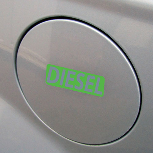 3x Diesel Fuel Only Layered Vinyl Stickers / Decals Green & Grey Color