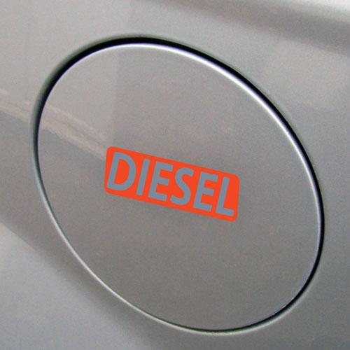 3x Diesel Fuel Only Layered Vinyl Stickers / Decals Orange & Grey Color
