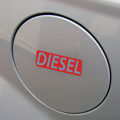 3x Diesel Fuel Only Layered Vinyl Stickers / Decals Red & Grey Color