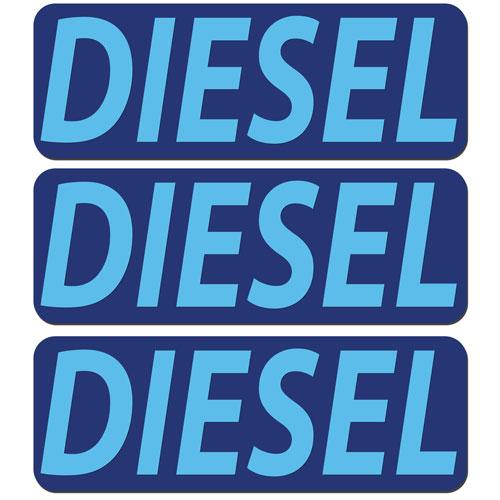 3x Diesel Fuel Only Layered Vinyl Stickers / Decals Dark Blue & Light Blue Color