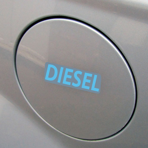 3x Diesel Fuel Only Layered Vinyl Stickers / Decals Grey & Light Blue Color