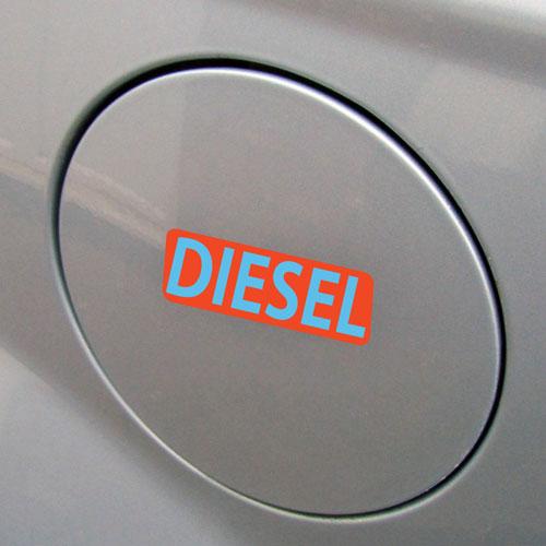 3x Diesel Fuel Only Layered Vinyl Stickers / Decals Orange & Light Blue Color