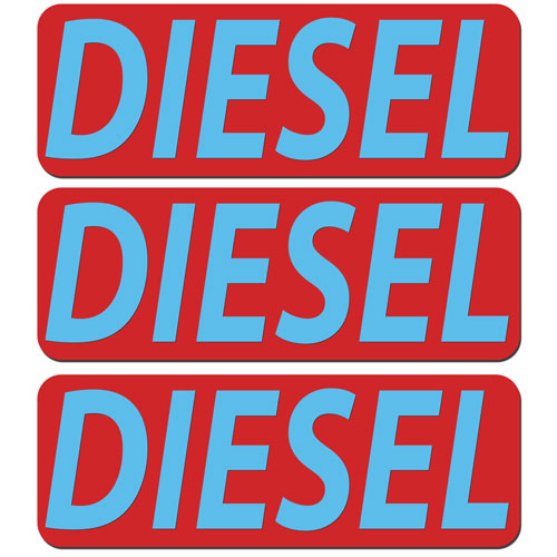 3x Diesel Fuel Only Layered Vinyl Stickers / Decals Red & Light Blue Color