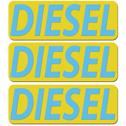 3x Diesel Fuel Only Layered Vinyl Stickers / Decals Yellow & Light Blue Color