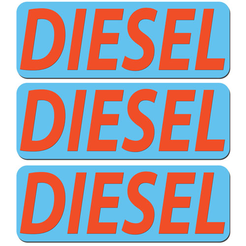 3x Diesel Fuel Only Layered Vinyl Stickers / Decals Blue & Orange Color