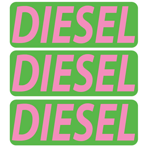 3x Diesel Fuel Only Layered Vinyl Stickers / Decals Green & Pink Color
