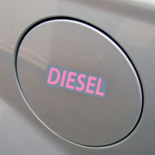 3x Diesel Fuel Only Layered Vinyl Stickers / Decals Grey & Pink Color