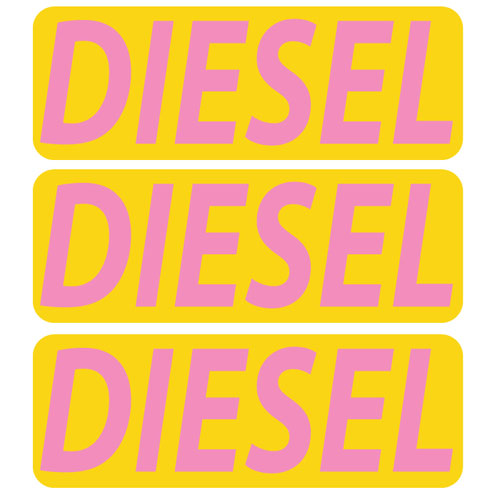 3x Diesel Fuel Only Layered Vinyl Stickers / Decals Yellow & Pink Color
