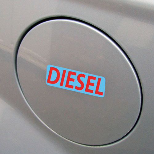 3x Diesel Fuel Only Layered Vinyl Stickers / Decals Blue & Red Color