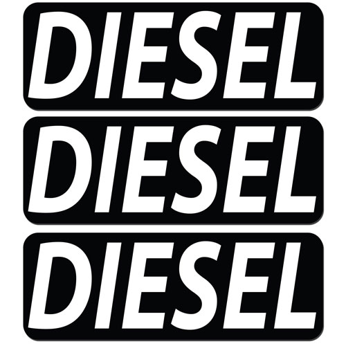 3x Diesel Fuel Only Layered Vinyl Stickers / Decals Black & White Color