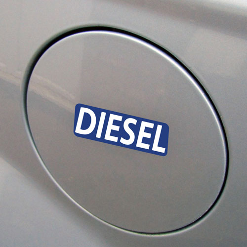 3x Diesel Fuel Only Layered Vinyl Stickers / Decals Blue & White Color