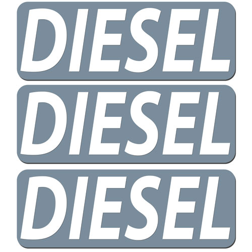 3x Diesel Fuel Only Layered Vinyl Stickers / Decals Grey & White Color