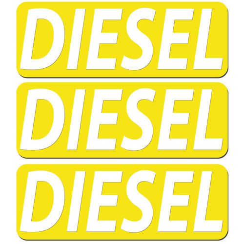 3x Diesel Fuel Only Layered Vinyl Stickers / Decals Yellow & White Color