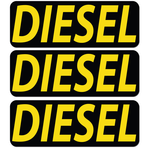 3x Diesel Fuel Only Layered Vinyl Stickers / Decals Black & Yellow Color