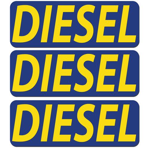 3x Diesel Fuel Only Layered Vinyl Stickers / Decals Dark Blue & Yellow Color