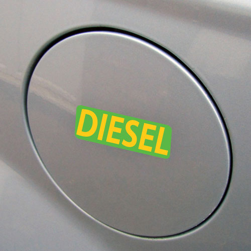 3x Diesel Fuel Only Layered Vinyl Stickers / Decals Green & Yellow Color