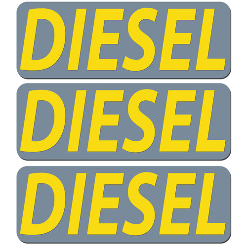 3x Diesel Fuel Only Layered Vinyl Stickers / Decals Grey & Yellow Color