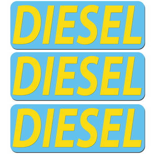 3x Diesel Fuel Only Layered Vinyl Stickers / Decals Light Blue & Yellow Color