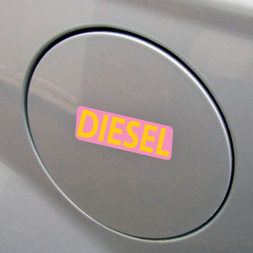 3x Diesel Fuel Only Layered Vinyl Stickers / Decals Pink & Yellow Color