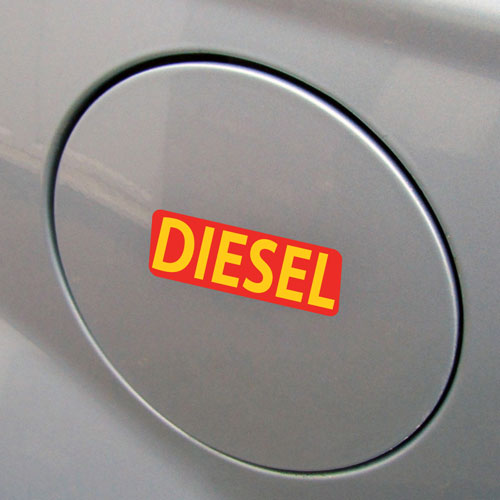 3x Diesel Fuel Only Layered Vinyl Stickers / Decals Red & Yellow Color