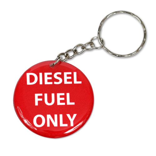Diesel Fuel Only Red Keychain Key Chain Warning Keyring Key Ring Double Sided