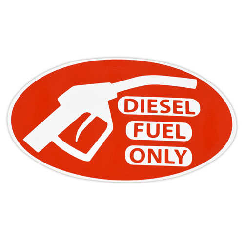 Diesel Fuel Only Layered Vinyl Sticker / Decal Red & White Color Oval Shape