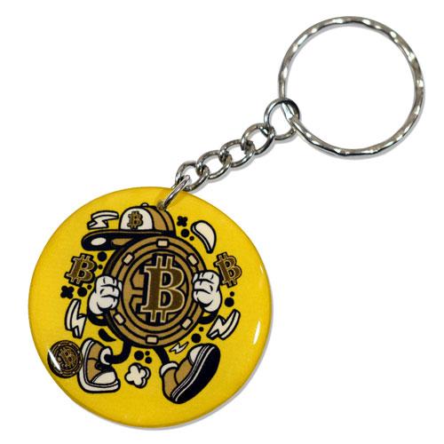 Bitcoin Cartoon Style Character Keychain Key Chain Keyring Key Ring Double Sided