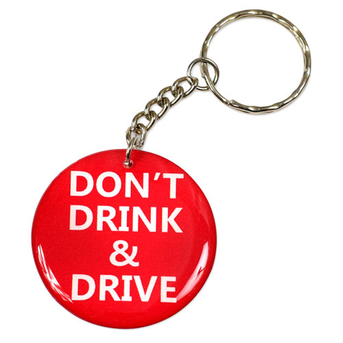 Don't Drink & Drive Red Pendant Keychain Key Chain Keyring Key Ring Double Sided