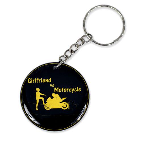 Girlfriend Vs Motorcycle Keychain Key Chain Keyring Key Ring Double Sided Black