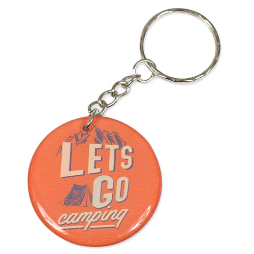 Lets Go Camping Pendant Keychain Key Chain Keyring Key Ring Double Sided Orange