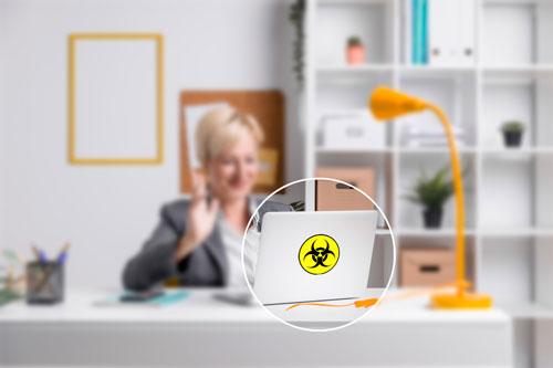 Caution Biohazard Symbol Sign Layered Vinyl Sticker / Decal Round Shape Yellow & Black Color