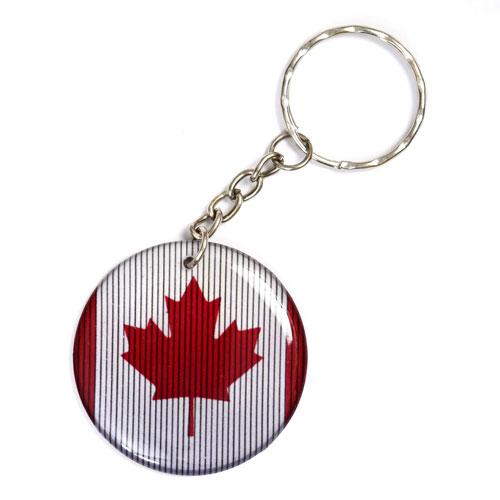Canadian Flag Pendant Keychain Key Chain Keyring Key Ring Double Sided Round