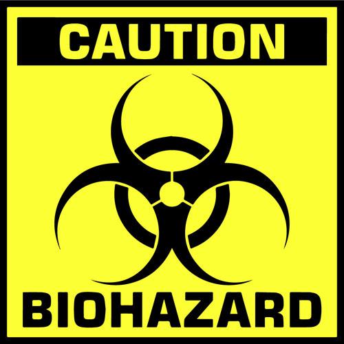 Caution Biohazard Sign Symbol Layered Vinyl Sticker / Decal Yellow & Black Color