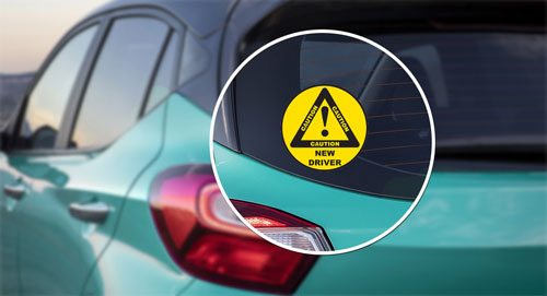 Caution Symbol New Driver Layered Vinyl Sticker / Decal Round Shape Black & Yellow Color