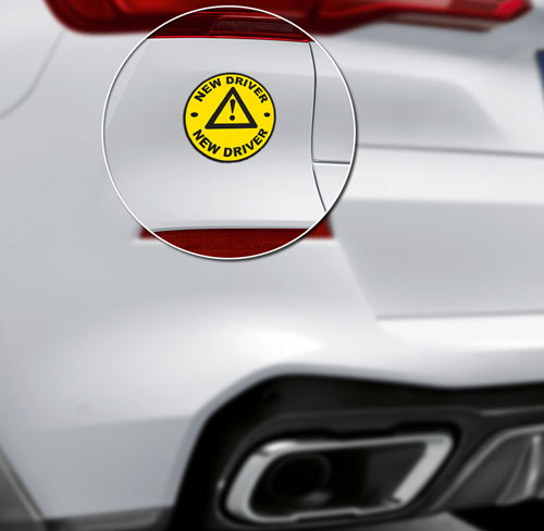 New Driver Caution Triangle Symbol Layered Vinyl Sticker / Decal Round Shape Yellow & Black Color