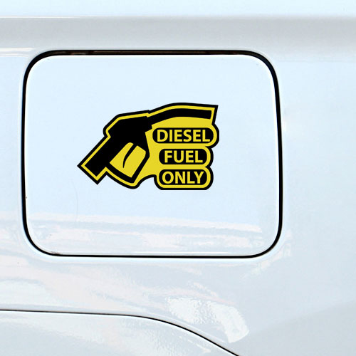 Diesel Fuel Only Warning Sign Reminder Gas Cap Cover Marker Layered Vinyl Sticker / Decal Yellow & Black Color