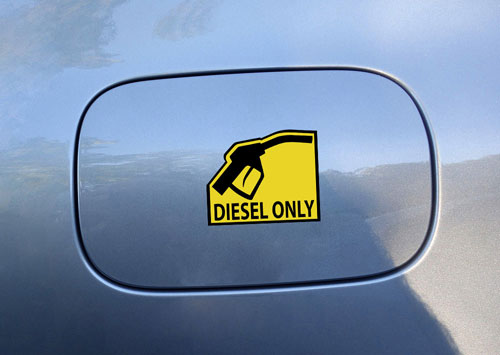 Diesel Only Warning Sign Layered Vinyl Sticker / Decal Yellow & Black Color