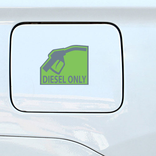 Diesel Only Warning Sign Layered Vinyl Sticker / Decal Grey & Green Color